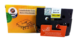Picture of WeP Compatible  Label Tape for Brother Tze-621 Black on yellow(9mmx8mtrs)