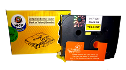 Picture of WeP Compatible  Label Tape for Brother Tze-631 Black on Yellow(12mmx8mtrs)