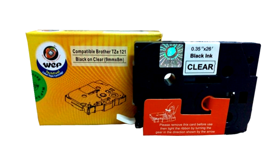 WeP Compatible  Label Tape for Brother Tze-121 Black on Clear (9mmx8mtrs) இன் படம்