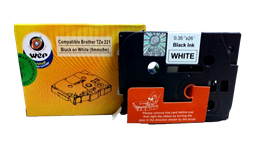 Picture of WeP Compatible  Label Tape for Brother Tze-221 Black on White (9mmx8mtrs)