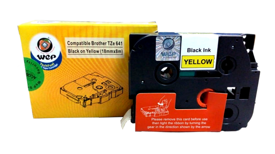 Picture of WeP Compatible  Label Tape for Brother Tze-641 Black on Yellow (18mmx8mtrs)