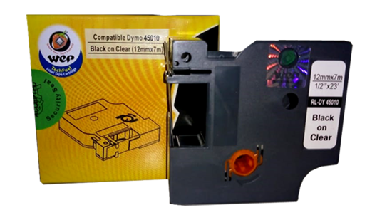WeP compatible Label Tape for DYMO 45010 S0720500  Black on Clear (12x7) இன் படம்