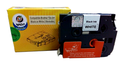 Picture of WeP Compatible  Label Tape for Brother Tze-241 Black on White (18mmx8mtrs)