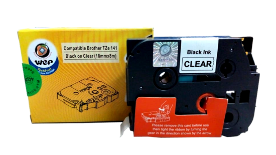 Picture of WeP compatible Label Tape for Brother Tze-141 Black on Clear (18mmx8mtrs)
