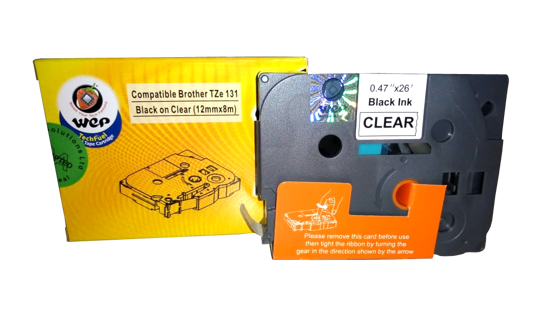 Picture of WeP Compatible  Label Tape for Brother Tze-131 Black on Clear (12mmx8 mtrs)