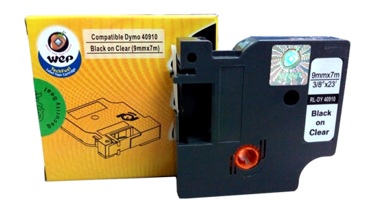 WeP Compatible Label Tape DYMO 40910 S0720670  Black on Clear (9*7) चे चित्र