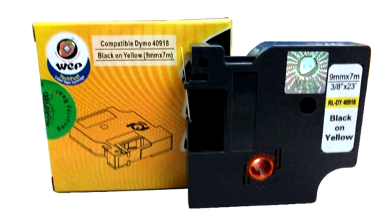 Picture of WeP compatible Label Tape for DYMO 40918 S0720730  Black on yellow (9x7)