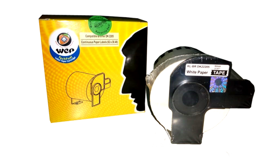 Picture of WeP Compatible  Brother DK 22205 White Continuous paper Labels (62mmX 30.48mtrs)